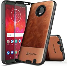 Moto G6 Case with Tempered Glass Screen Protector (Full Coverage), NageBee Premium Cowhide Armor Defender Dual Layer Shockproof Hybrid Case for Motorola Moto G (6th Generation) -Brown
