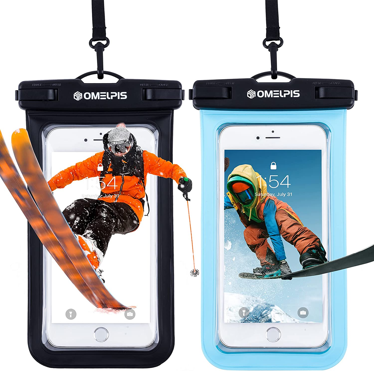 OMELPIS Universal Snowproof Phone Pouch, Waterproof Case for iPhone 12 11 Mini Pro Max XR 8 Plus, Samsung, LG, All Devices up to 7'', Underwater Cellphone Dry Bag for Skiing/Diving/Kayak -2 Pack