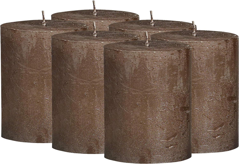 Bolsius Rustic Metallic Set of Cheap super special price 6 Brown C Unscented Copper Pillar Bargain sale