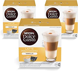 "Nescafe Dolce Gusto Vanilla Latte Machiato Coffee Capsules - 16 Capsules, 8 Cups €"" Pack of 3"