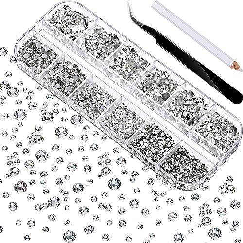 TecUnite 2000 Pieces Flat Back Gems Round Crystal Rhinestones 6 Sizes (1.5-6 mm) with Pick Up Tweezer and Rhinestones...