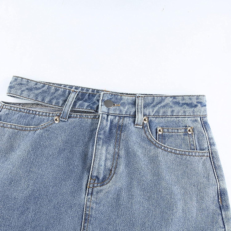 iiniim Women Girls Casual Slim Denim Skirt High Waist Hollow Out Harajuku Vintage Pencil Skirts Clubwear