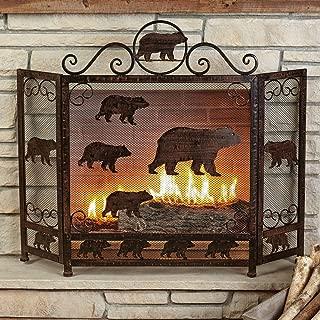 BLACK FOREST DECOR Rust Finish Bear Fireplace Screen