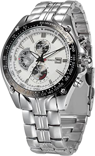 CURREN Analogue Men S Watch White Dial Silver Colored Strap