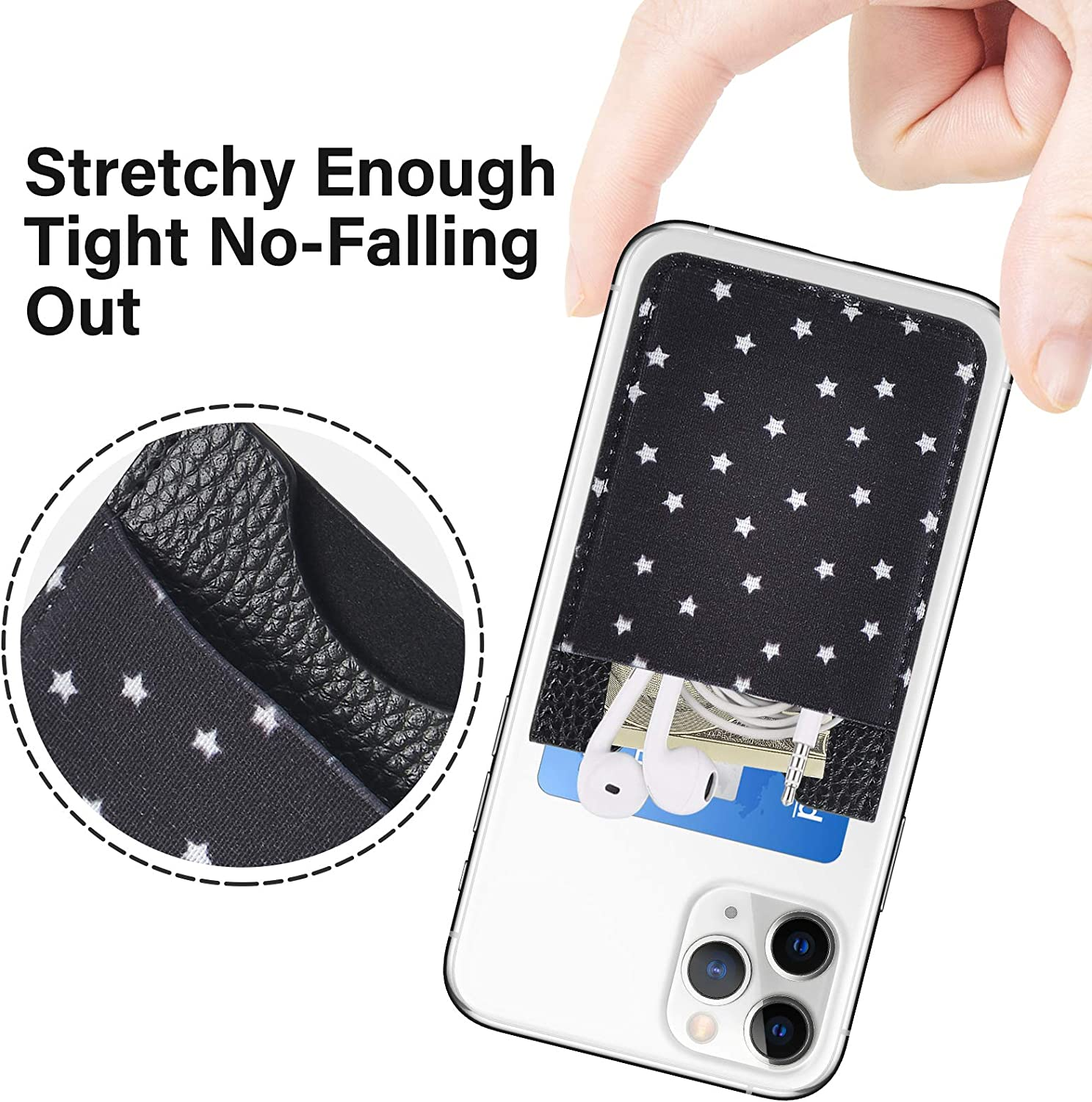 2 Pack PU Leather Stick on Wallet Elastic Credit Card Holder for Back of Phone Pocket Pouch for All Most Smartphones Black Stars SHANSHUI Cell Phone Wallet