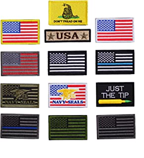 Bundle Full Set 2x3 inch Collectibles Combination Military Morale Patches Set, Embroidered Tactical US Flag Patches, USA Hook and Loop Backing for Bags, Backpacks, Caps, Vest,Uniforms