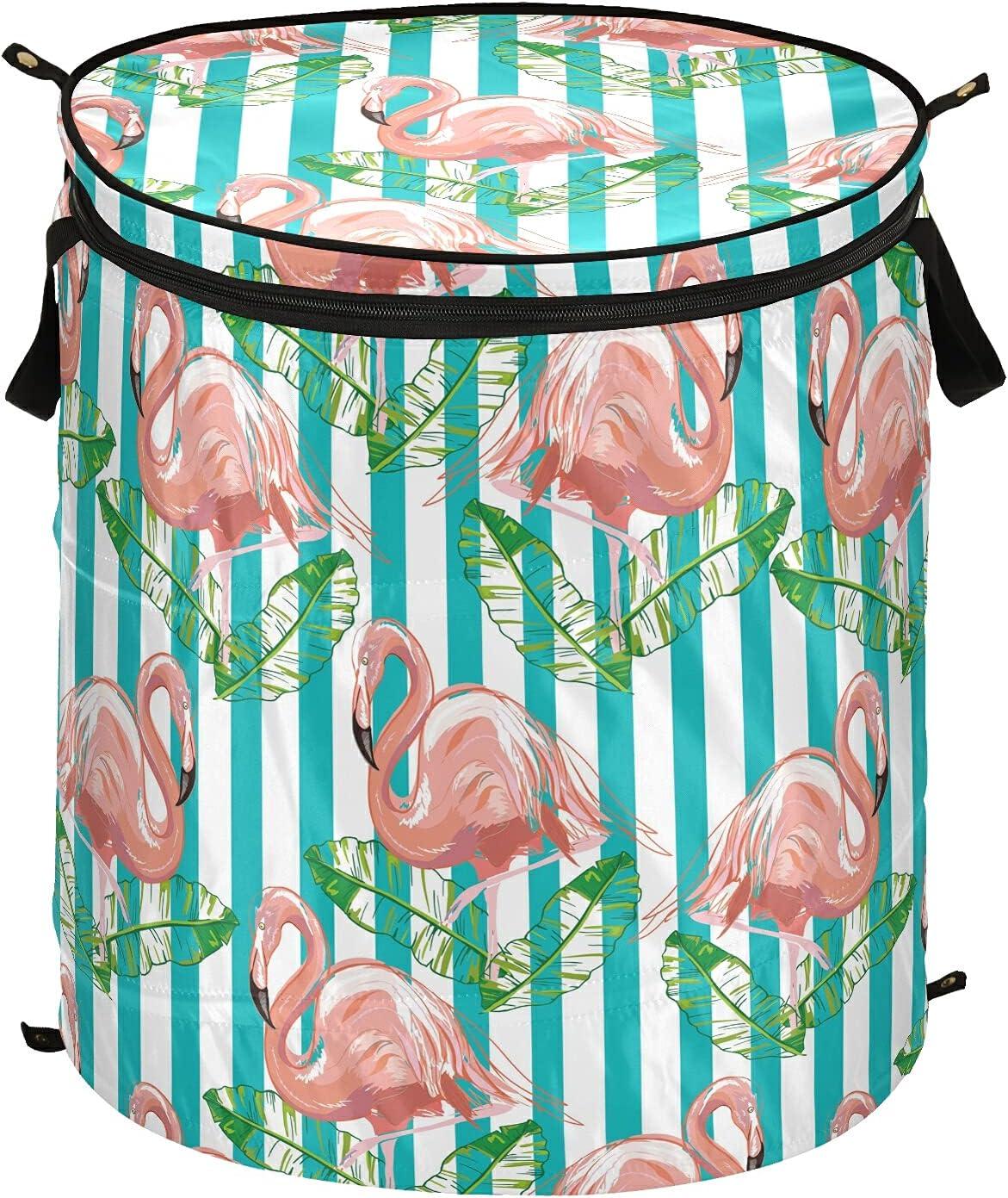 Flamingo Pink Pop-Up Laundry Hamper Regular discount Zipper New York Mall Collapsi with Handles