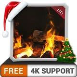無料のまぶしさの暖炉HD-HDR 4Kテレビ、8Kテレビ、火のデバイスをクリスマスの休日に美しいホット煙突で冬を楽しみ、調停と平和のための壁紙とテーマとして使用します