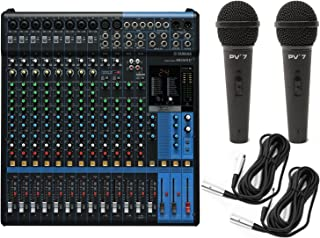 Yamaha MG16XU 16 Input Analog Mixer with Microphone Preamps , Dedicated Stereo Line Channels, Aux Sends , EQ , Digital Effects Audio Mixer USB Interface with 2 Microphones and 2 Microphone Cables, Black
