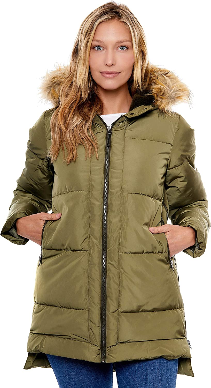 BE BOUNDLESS Women's Water-Resistant Faux Fur Hood Framework Anorak Jacket