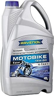 RAVENOL J1V1033-004 SAE 15W-50 4-Stroke Motorcycle Oil - 4-T Semi-Synthetic Ester API SM, JASO MA/MA2 (4 Liter)