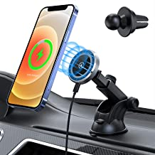 15W Magnetic Wireless Car Charger for iPhone 12/12 Pro/ 12 Mini/ 12 Pro Max, Auto-Alignment Air Vent Dashboard Car Mount H...
