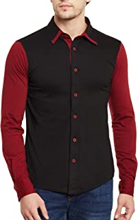 GRITSTONES Black-Maroon Full Sleeves Shirt GSFSSHRT1462