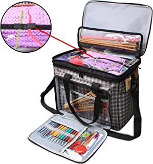 "Teamoy Knitting Bag, Yarn Tote Organizer with Cover and Inner Divider (Sewn to Bottom) for Crochet Hooks, Knitting Needles(up to 14""), Project and Supplies, Grey Dots(No Accessories Included)"