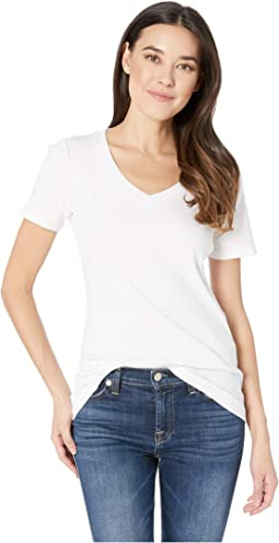 Cotton Rib Short Sleeve V-Neck Top