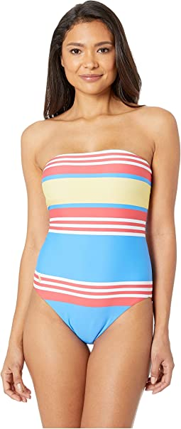 Engineered Stripe Bandeau One-Piece