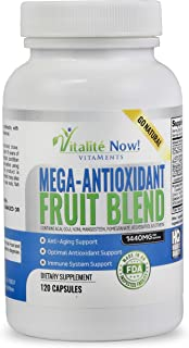 Mega Super Fruit Best Antioxidant Supplement - Acai Resveratrol Pomegranate Goji Mangosteen + 6 Other Anti Aging Superfoods - Works on a Cellular Level! - 120 Capsules - 2 Month Supply!