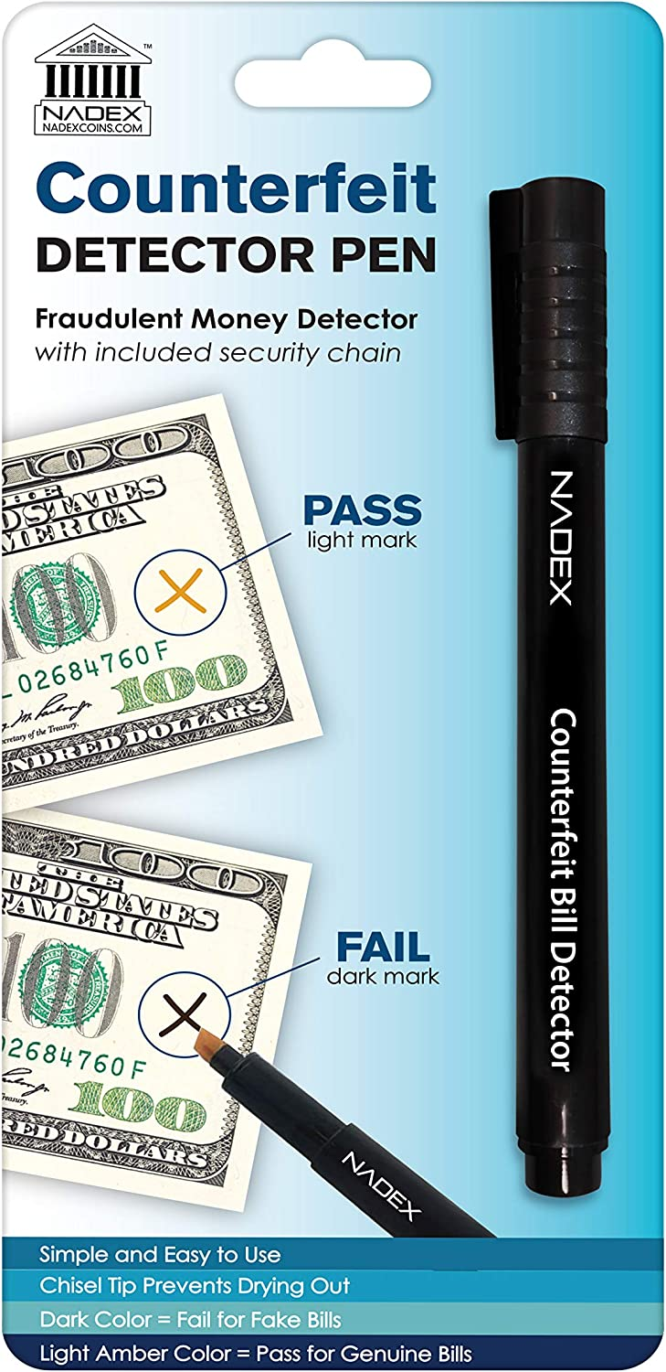 Easy Swipe Detect Counterfeit Bills Black for Fake 1 Pack Gold for Real Nadex Counterfeit Pen