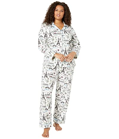 BedHead Pajamas Plus Size Long Sleeve Classic Notch Collar PJ Set (Sightseeing) Women