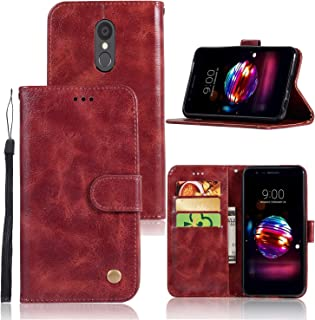LG Aristo 2 Case, LG Tribute Empire/Tribute Dynasty/LG Zone 4/ LG K8 2018/Aristo 3 Case, Zoeirc PU Leather Wallet Flip Protective Case Cover with Card Slots and Stand for LG Aristo 2 Plus (Wine red)