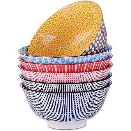 vancasso, Bols à Céréales Ramen en Porcelaine, 6 Pièces, Style Japonais, Assiette Colorée-750 ML