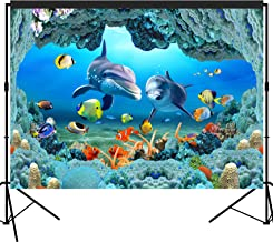 musykrafties Ocean Scenic Undersea Cave Dolphin Backdrop Large Banner Photography Studio Fabric Background Photobooth Prop 7x5feet #2212