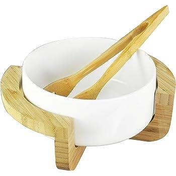LA VITA VIVA Salatschüssel Servierschüssel Set Bamboo Bowl mit dekorativem Ständer und Servierzange aus echtem Bambusholz Hochwertige Keramik Weiß