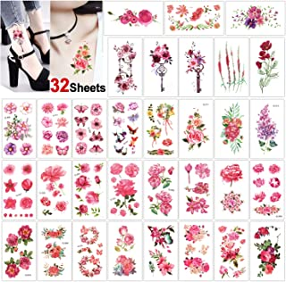 Konsait 32 Sheets Flower Temporary Tattoo for Women Girls Fake Tiny Temporary Tattoo Adult Waterproof Body Art Sticker Hand Neck Wrist- Rose Butterfly Plum Key Lotus Lavender