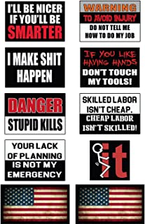 Funny Hard Hat & Helmet Stickers: 10 Decal Value Pack Two American Flags. Great a Construction Toolbox, Hardhat, Mechanic's Chest & More. USA Made Fun Gift Pro Union Working Men & Women
