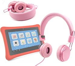 DURAGADGET Pink Stylish Kids Headphones with Button Remote - Compatible with Fuhu Nabi/Nabi 2 Kids Tablet