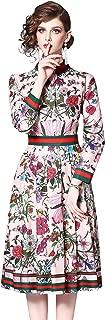 Women's Floral Print Button up Midi Dress Casual A-line Shirt Dress