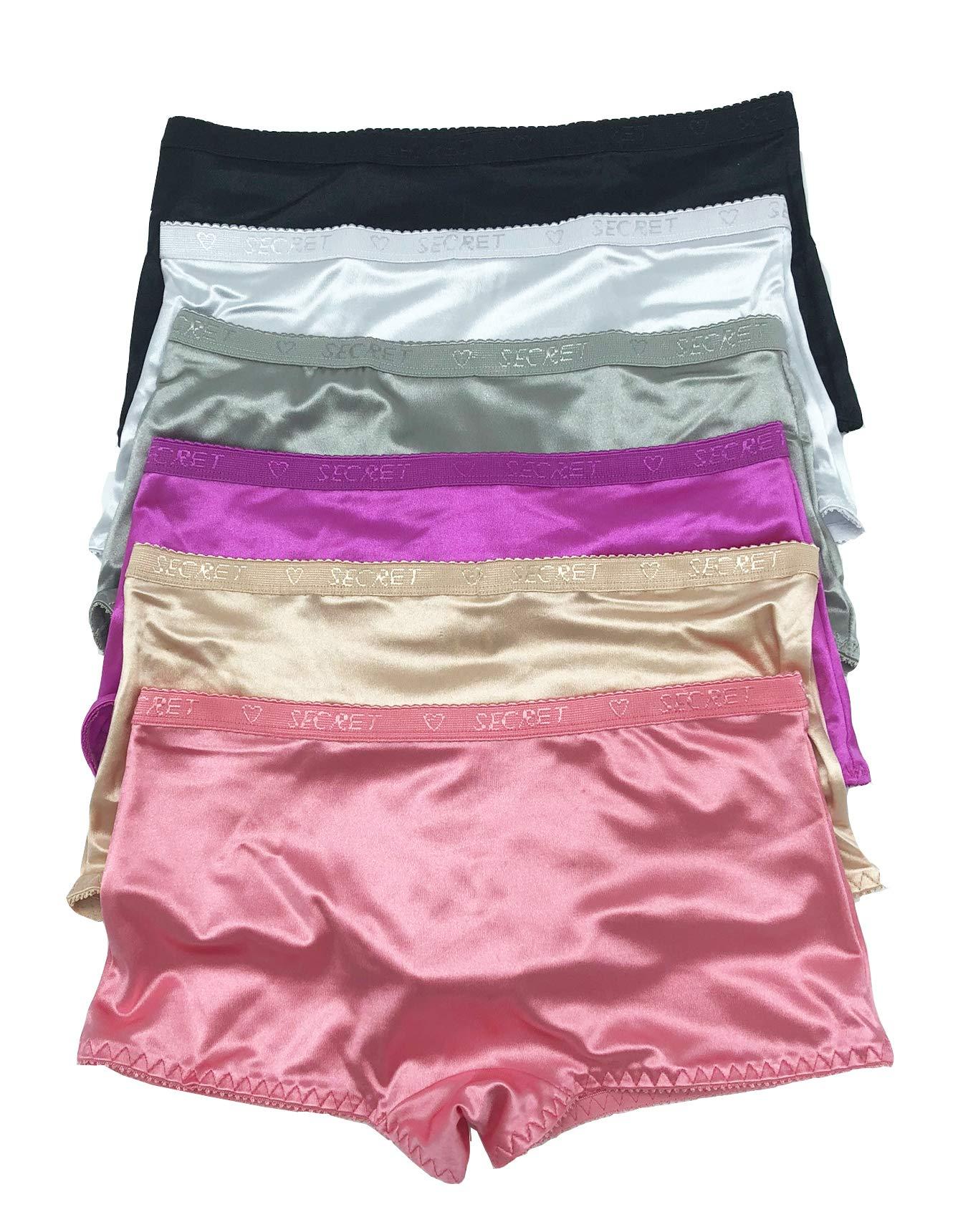 Violas Secret Women Satin Bikini 6 Pack of Plain Satin Shining Underwear