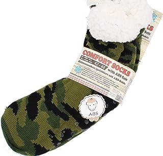 Calcetines para hombre de tacto suave, con botones de ABS, gruesos, calientes, calcetines 41-44 (negro)