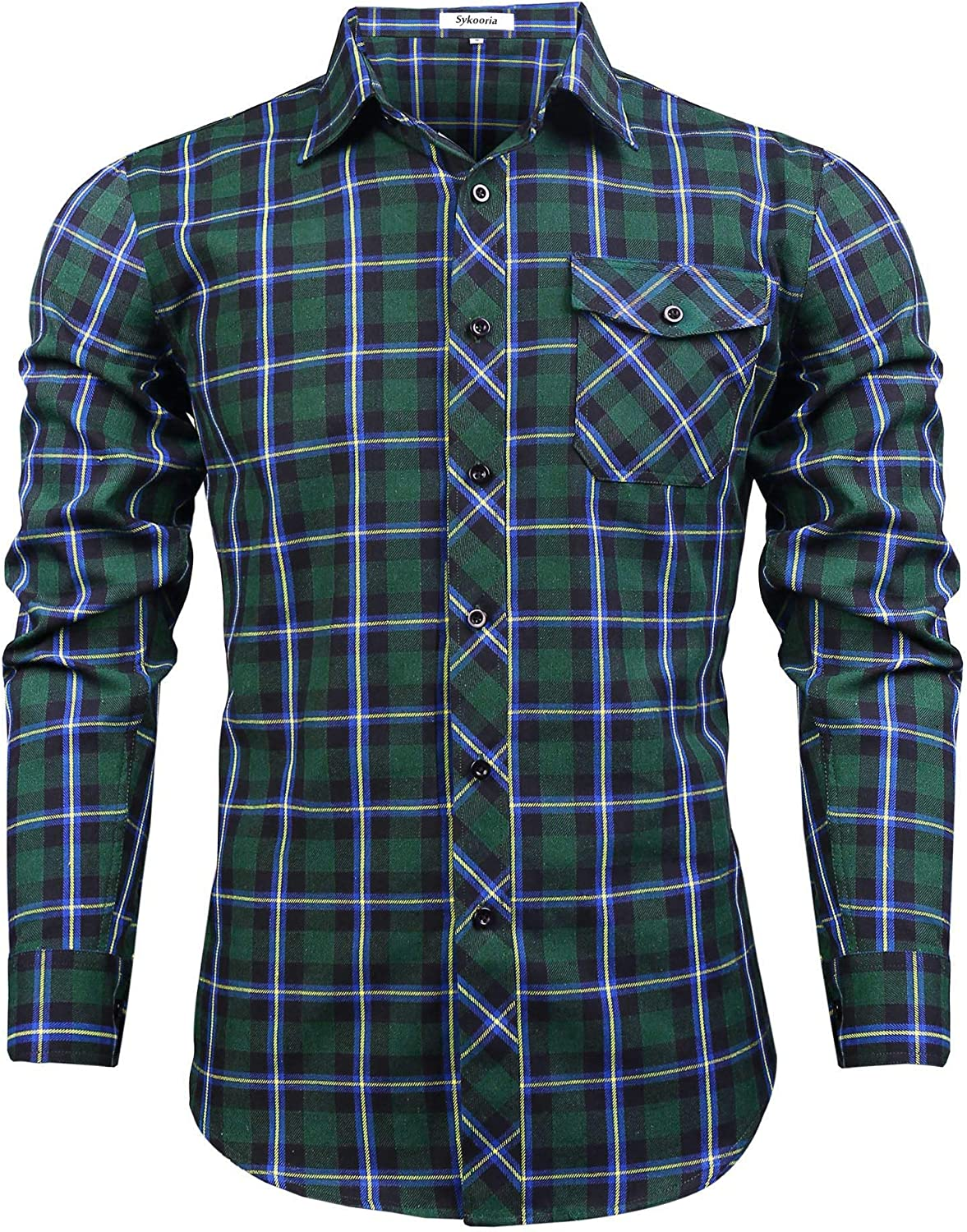 Sykooria Men's Flannel Super beauty product restock quality top! Plaid Shirts Sleeve Ranking integrated 1st place Long Casual Butt