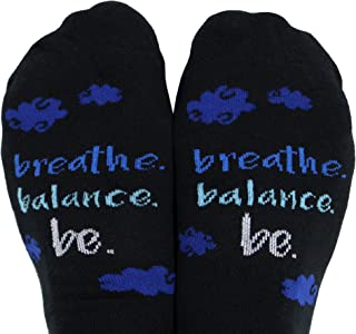 Toe Talk Breathe Balance BE Non Slip Grip Socks for Yoga Meditation & Tai Chi