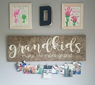 Olga212Patrick Grandkids Sign Plaque Grandparents Grandparents Day Make Life More Grand Rustic Wood Sign Plaque Reclaimed Wood Sign Plaque Printed Sign Plaque