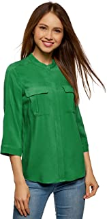 oodji Ultra Women's Viscose Blouse with Adjustable Sleeves