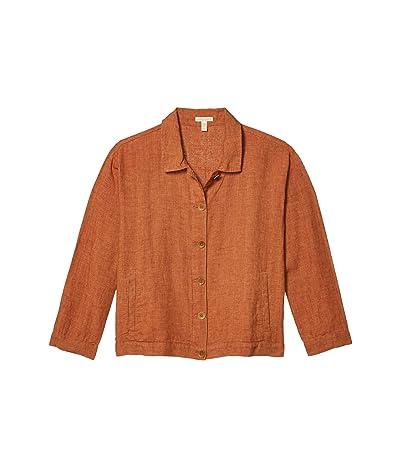 Eileen Fisher Petite Classic Collar Jacket (Cinnamon) Women