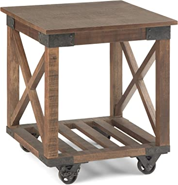 SIMPLIHOME Harding Solid Mango Wood and Metal 20 inch wide Square Industrial End Side Table in Distressed Dark Brown with Sto
