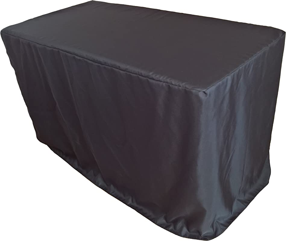Goldstream Point 24 X 48 X 30 Inch Fitted Polyester Tablecloth 4 X 2 Feet Black