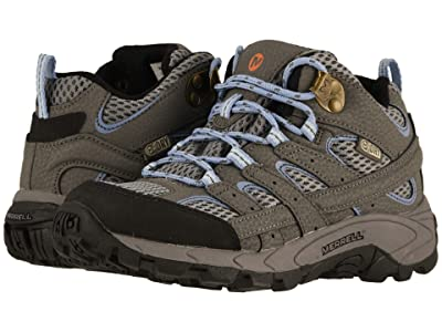 Merrell Kids Moab 2 Mid Waterproof (Little Kid/Big Kid) (Grey/Periwinkle) Kid