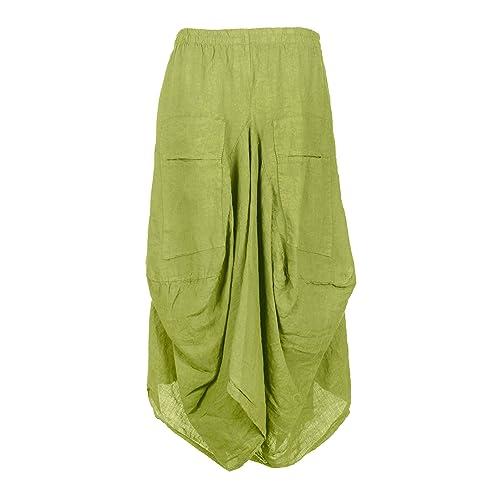Womens Italian Lagenlook 2 Slit Pocket Parachute Tulip Linen Ladies Maxi Skirt