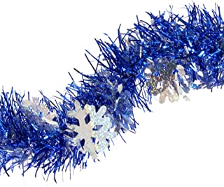 Winter Wonderland Party Decorations Christmas Tree Royal Blue Snowflakes Tinsel Garland Metallic Streamers Birthday Celebrate a Holiday Happy New Years Eve Indoor and Outdoor Disco Supplies