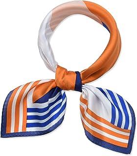 """أوشحة حريمي صغيرة مربعة 100% حرير التوت الحقيقي 21"""" x 21"""" من Corciova 111 Princeton Orange Mountain and Sun قياس واحد"""