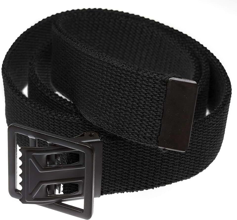 Jackster Open Face Military Grade Web Belt, with Black Metal Buckle, Adjustable
