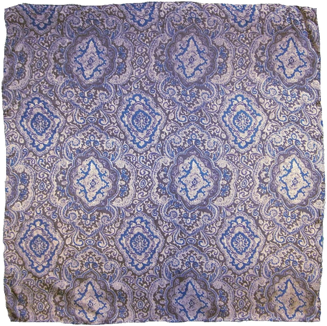 Wyoming Max 77% OFF Traders Mens Paisley Purchase Silk Wild Silver Rag Scarf Blue Mul