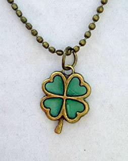 Luck of the Irish Shamrock Four Leaf Clover Pendant Necklace 24 Inch Chain St Patrick's Day