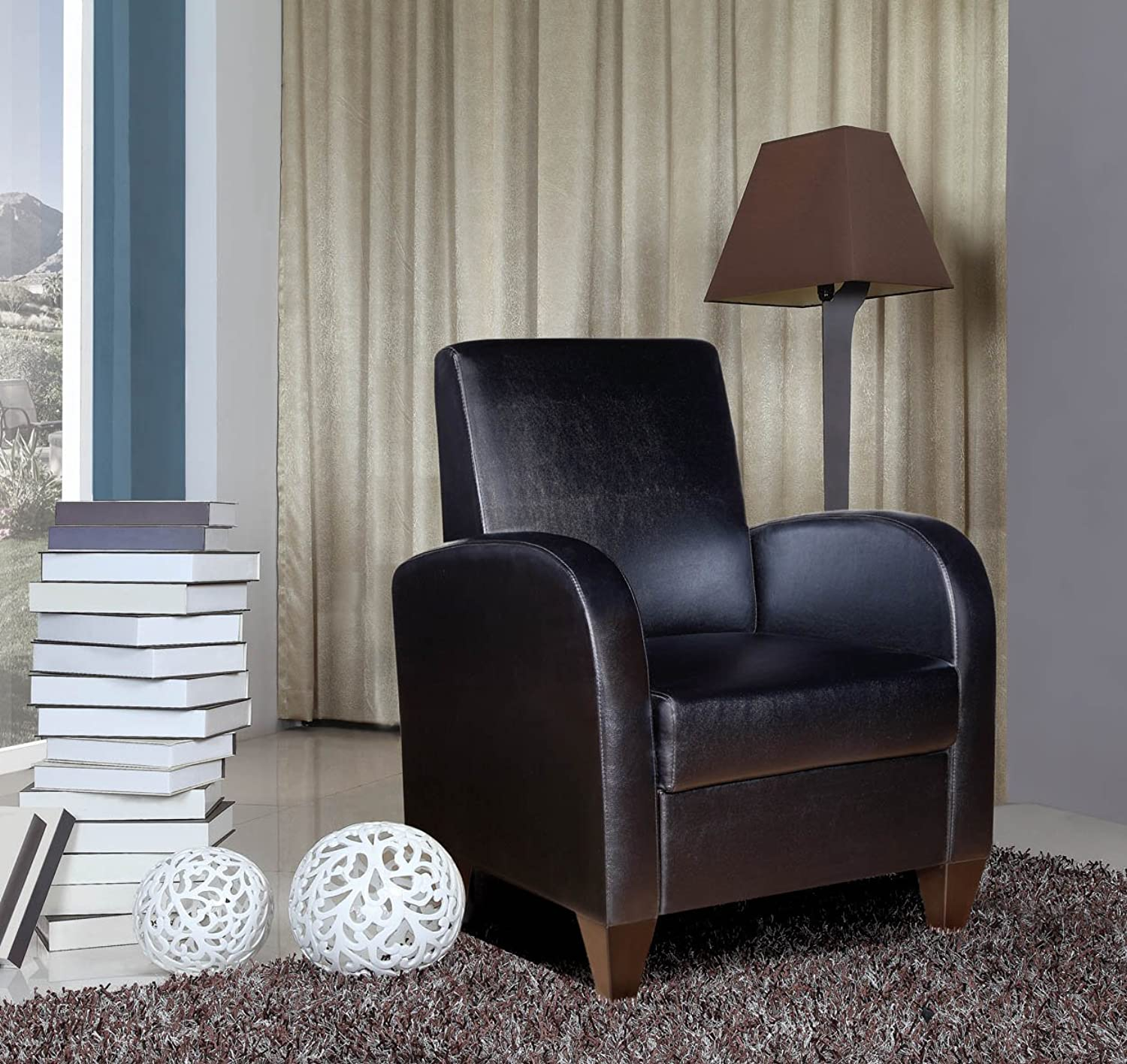 NHI Express Contemporary David Accent Chair (1 Pack), Solid, Black