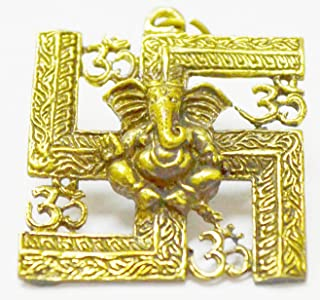 Amulet Pendant Thai Magic Lord Ganesh Deity GOD OHM Om AOM Trimurti Great Sign Hindu Brass Amulet Pendant