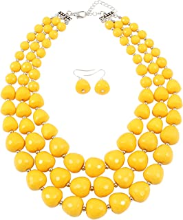 5 Colors Acrylic Beads Statement Strand Necklaces